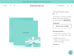 Tiffany & Co. gift card purchase
