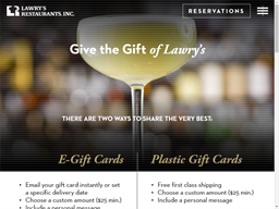 Lawry's Restaurant gift card purchase
