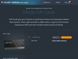 Village Cinemas gift card purchase