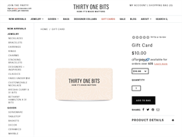 31 Bits gift card purchase