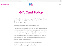 99 Cent Only Store gift card purchase