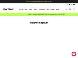 Active Ride Shop gift card balance check