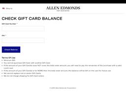 Allen Edmonds gift card balance check