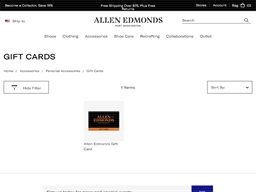 Allen Edmonds gift card purchase