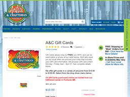 Artist & Craftsman gift card purchase