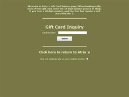 Atria's Restaurant & Tavern gift card balance check