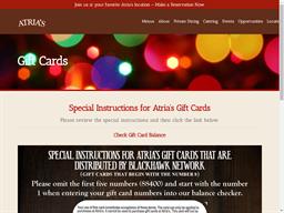 Atria's Restaurant & Tavern gift card purchase