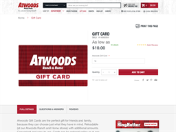 Atwoods Ranch & Home gift card purchase