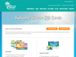 Bahama Breeze gift card purchase