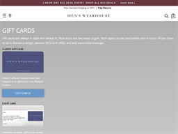 Men's Wearhouse gift card balance check