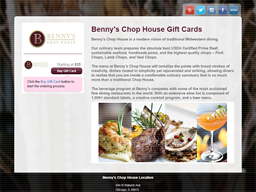 Benny's Chop House gift card purchase