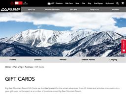Big Bear Mountain gift card purchase