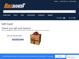 Bike Bandit gift card balance check