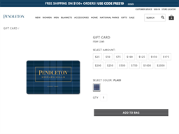 Pendleton gift card purchase