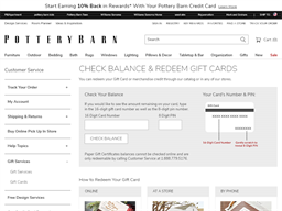 Pottery Barn gift card balance check