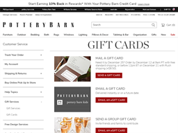 Pottery Barn gift card purchase