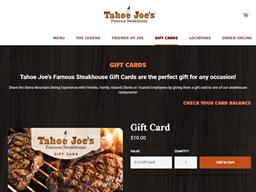 Tahoe Joe's gift card purchase