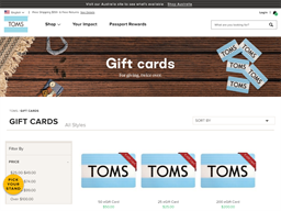TOMS gift card purchase