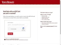 Tony Romas gift card balance check