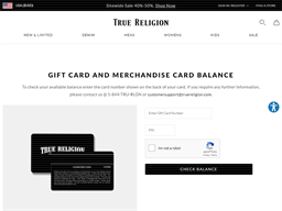 True Religion gift card balance check