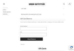 Urban Outfitters gift card balance check