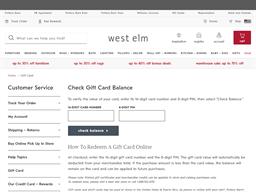 West Elm gift card balance check