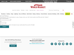 World Market gift card balance check