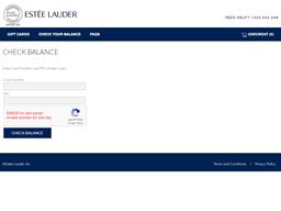 Estee Lauder gift card balance check