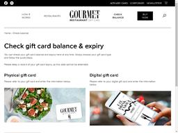 Gourmet Traveller Restaurant Physical gift card balance check