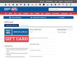 AFL Shop gift card purchase