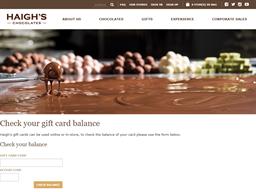 Haigh's Chocolates gift card balance check