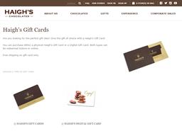Haigh's Chocolates gift card purchase