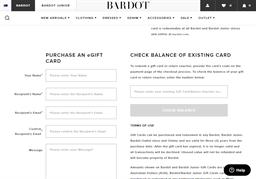 Bardot Junior gift card balance check