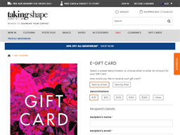 Taking Shape gift card purchase