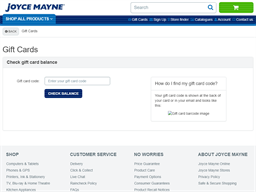 Joyce Mayne gift card balance check