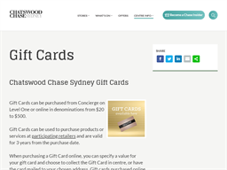Chatswood Chase Sydney gift card purchase