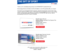 Intersport gift card purchase