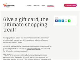 Lake Haven Centre gift card purchase
