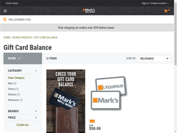 Mark's gift card balance check