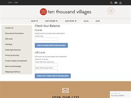 Ten Thousand Villages gift card balance check