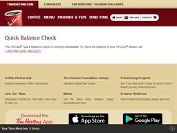 Tim Hortons gift card balance check