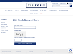 Tip Top Tailors gift card balance check