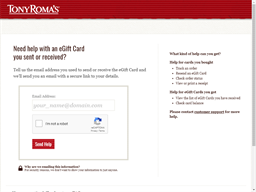 Tony Roma gift card balance check