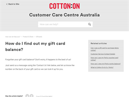 Cotton On gift card balance check