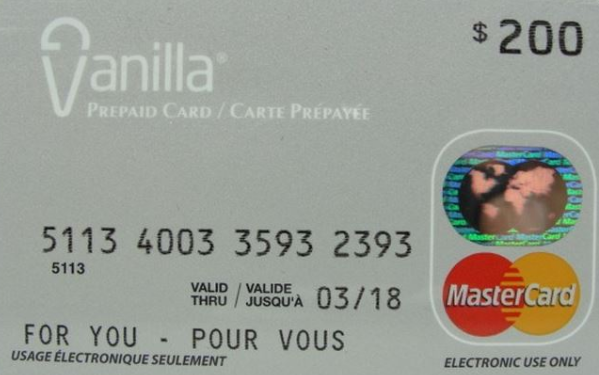 Vanilla Mastercard Prepaid Card gift card design and art work