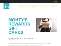 Monty's  rewards gift card purchase