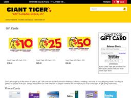 Giant Tiger gift card balance check