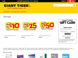 Giant Tiger gift card purchase