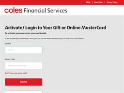 Coles Gift Mastercards gift card balance check