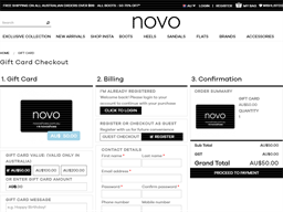 Novo Shoes gift card purchase